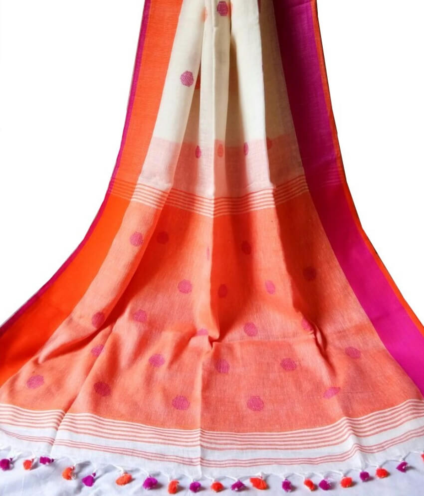 Buti Ball Linen Saree