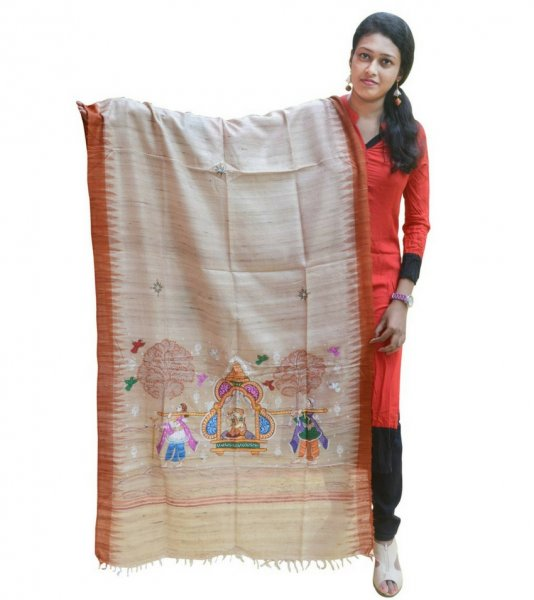 Hand Painted Pattachitra Art Dupatta