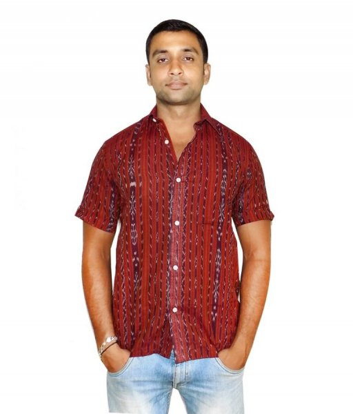 Coffee Cotton Sambalpuri Shirt