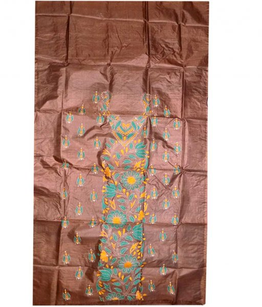 Coffee Tussar Silk Suit Piece