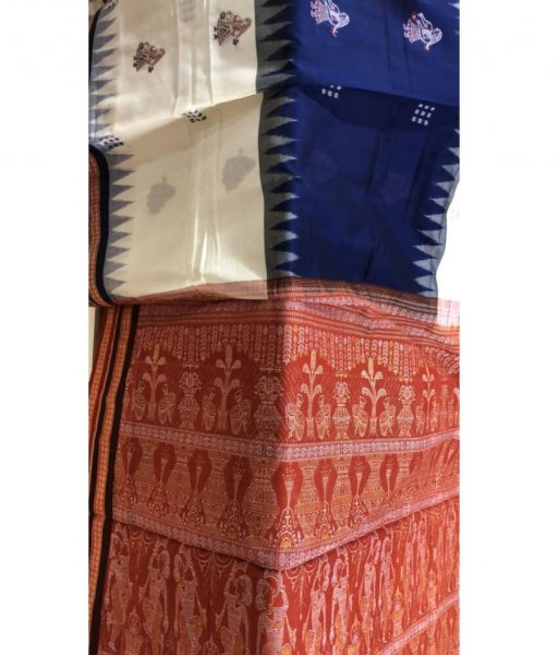 Blue & White Sambalpuri Saree