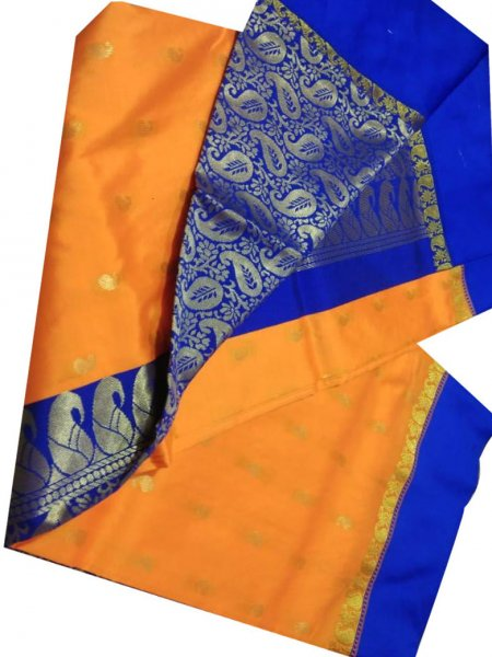 Orange and blue linen jamdani saree