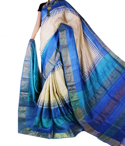 Cream & Blue Block Printed Zari Tussar Silk Saree