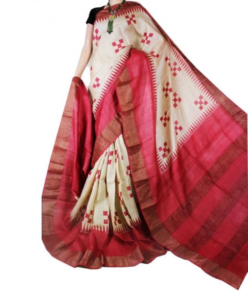 Cream & Red Block Printed Zari Tussar Silk Saree