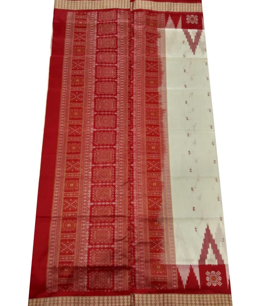 Cream & Red Sambalpuri Silk Saree