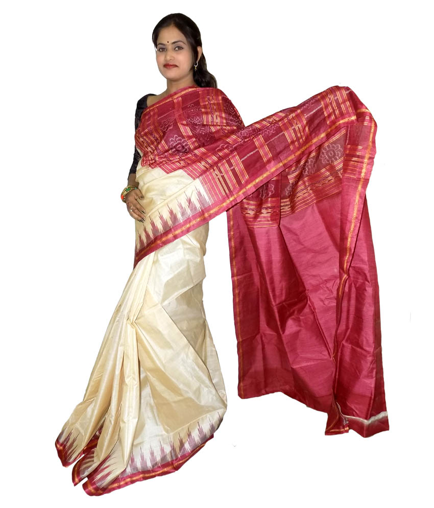 e0733241103ab Cream Tussar Silk Saree