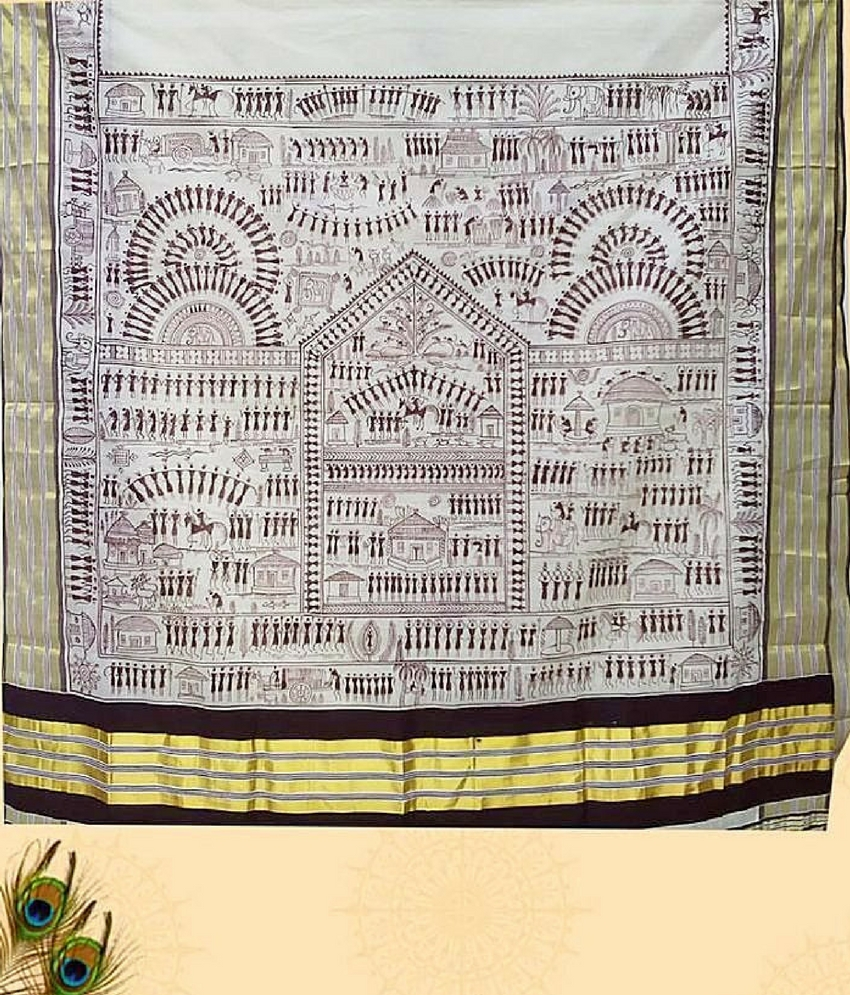 Cream Pattachitra Painting Saree