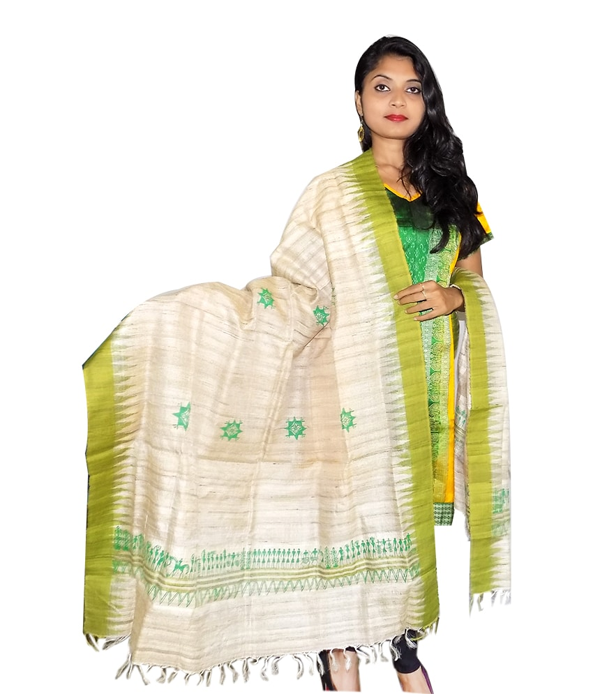 Cream Tussar Silk Dupatta