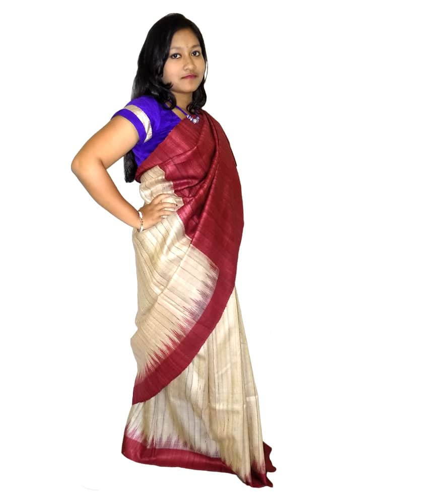 Cream Ghicha Tussar Silk Saree