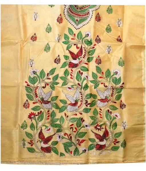 Cream Tussar Silk Suit Piece