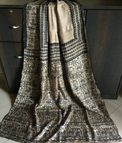 Cream Tussar Tribal Design Silk Saree