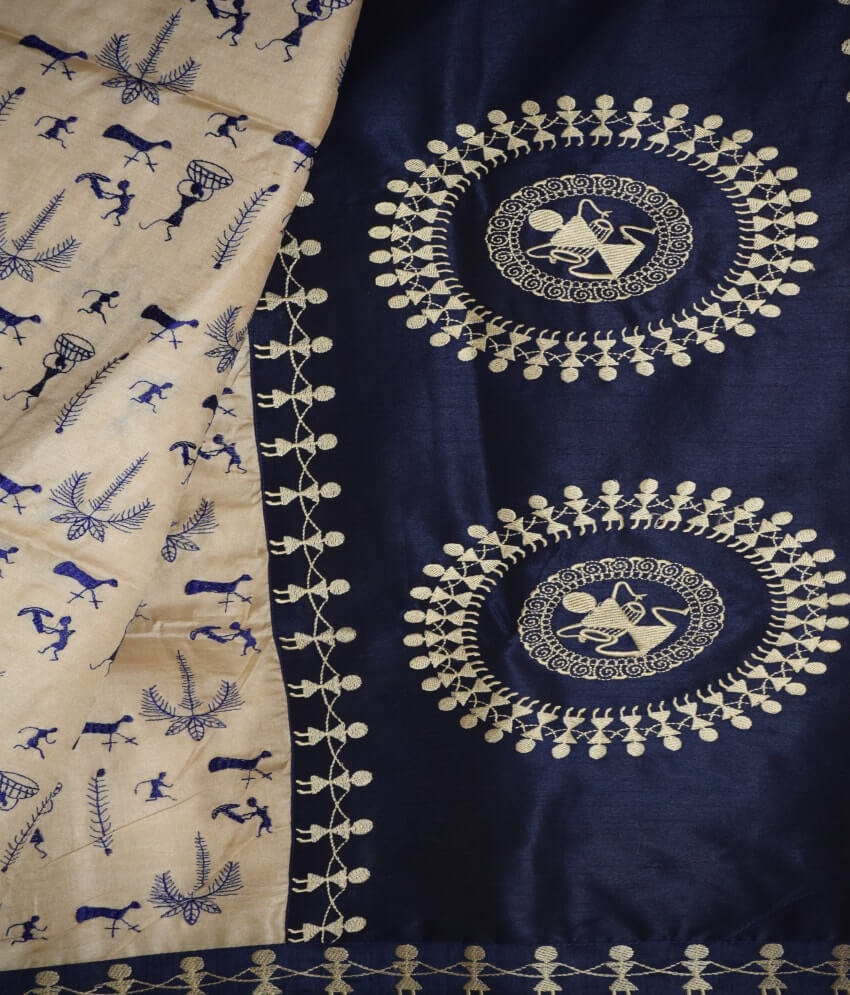 Embroidery Tussar Silk Saree