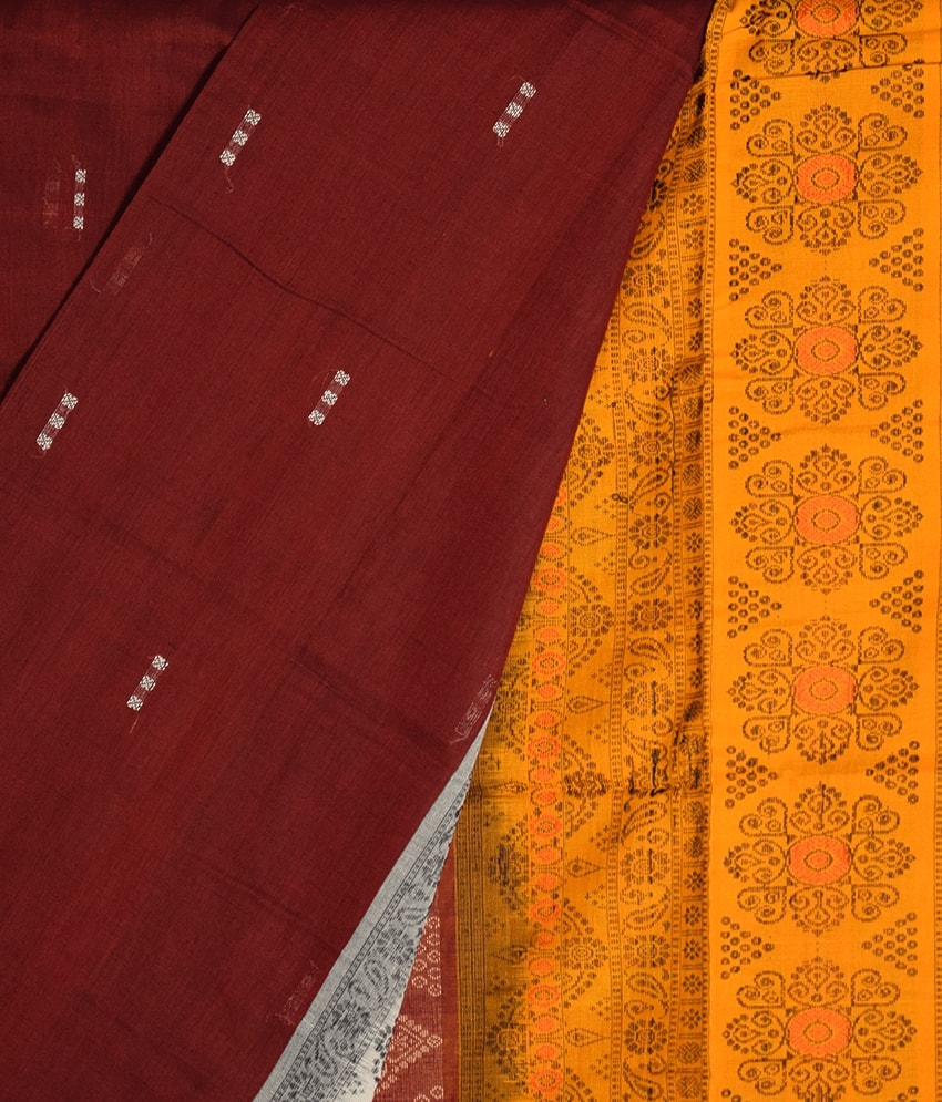 Maroon & Yellow Bomkai Cotton Saree