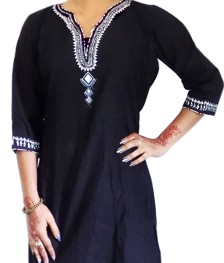 Black Tribal Painting Kurti