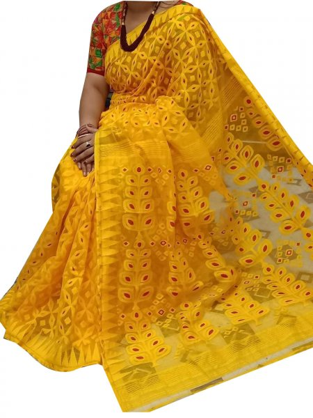 Yellow Dhakai jamdani high quality saree