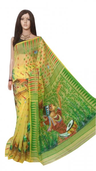 Yellow , Green and Red hand painted full body work Jamdani silk saree