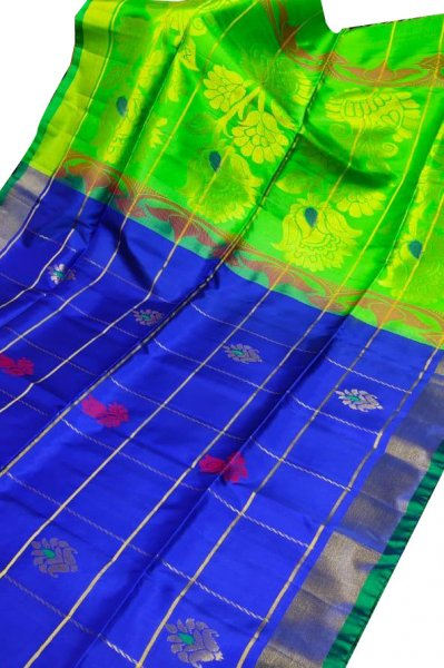 Blue and green uppada all over checks, rich pallu saree