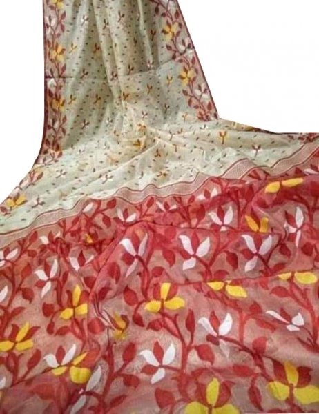 White, red and Yellow dhakai jamdani saree without blouse piece