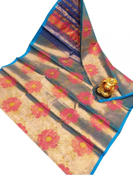 Blue and pink uppada tissue cotton print saree