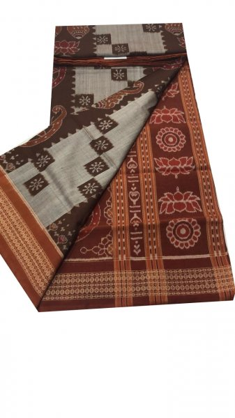 Gray and maroon sambalpuri cotton saree