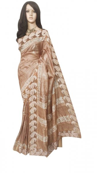 Clay and white pure silk cut work saree with blouse piece