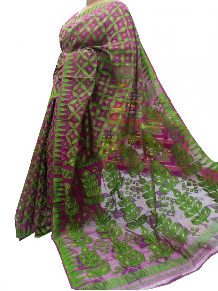 Green and Purple dhakai jamdani high quality saree