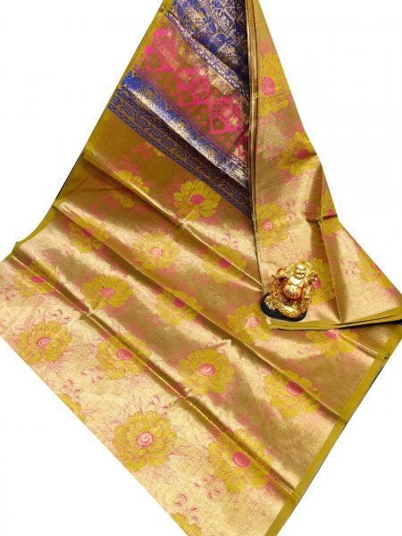 Golden yellow, pink and blue uppada tissue cotton print saree