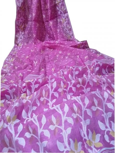 Purple and White dhakai jamdani saree without blouse piece