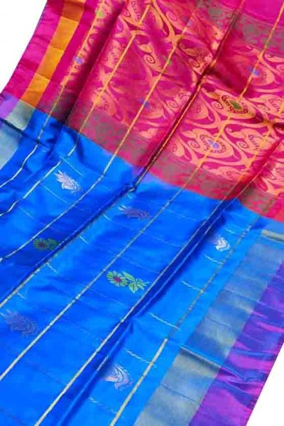 Blue and red uppada all over checks, rich pallu saree