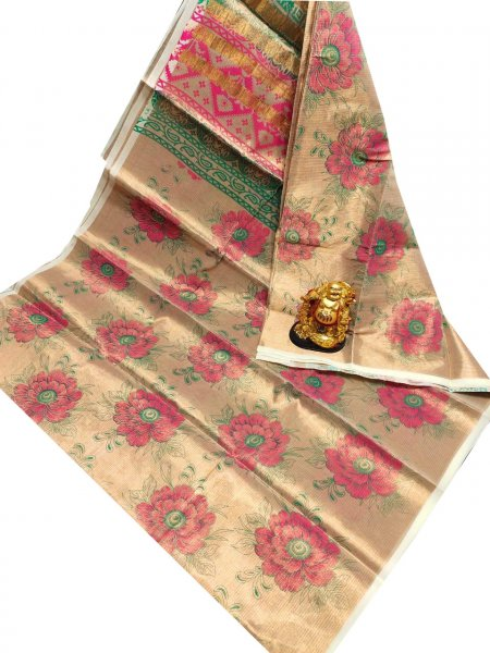 Golden, Pink and Green uppada tissue cotton print saree