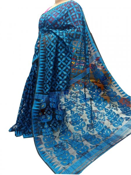 Black and blue dhakai jamdani high quality saree