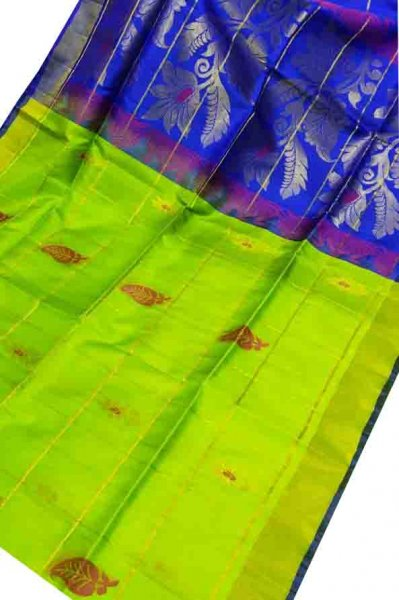 Lime green and blue uppada all over checks, rich pallu saree