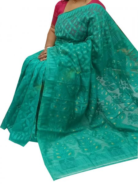 Ocean green dhakai jamdani high quality saree