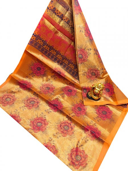 Golden yellow, pink and black uppada tissue cotton print saree