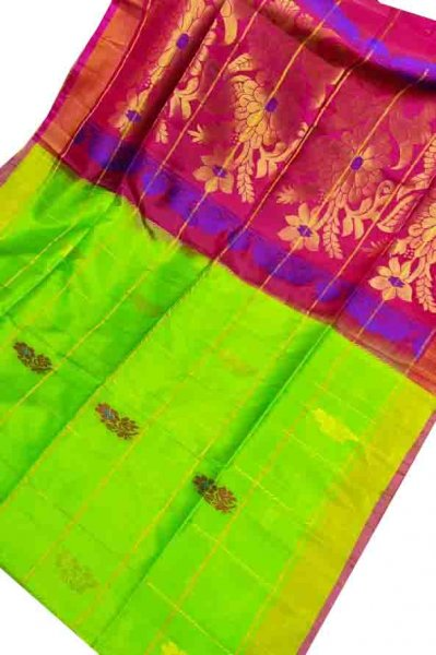 Lime green and red uppada all over checks, rich pallu saree
