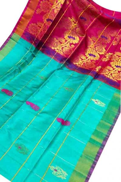Ocean green and pink uppada all over checks, rich pallu saree