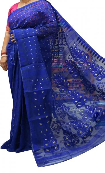 Blue dhakai jamdani high quality saree