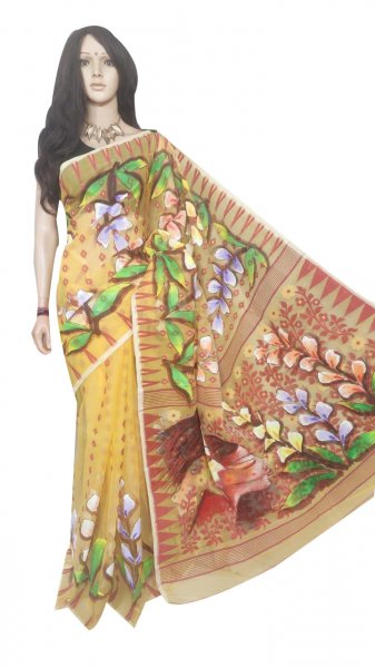 Yellow and mix colored hand painted full body work jamdani silk saree