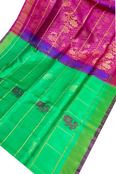Green and pink uppada all over checks, rich pallu saree