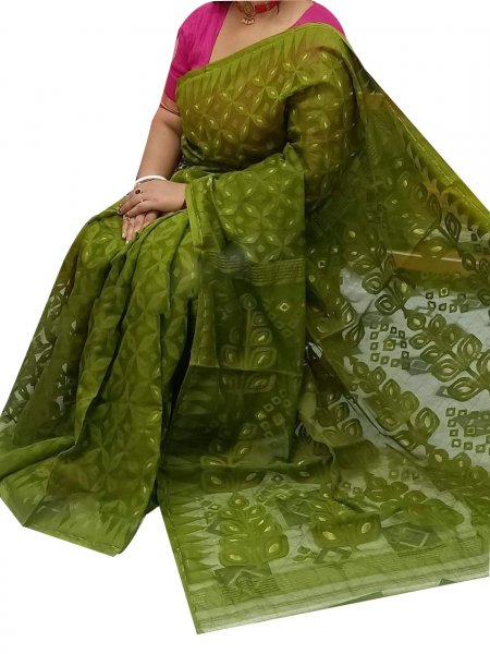 Olive green dhakai jamdani high quality saree