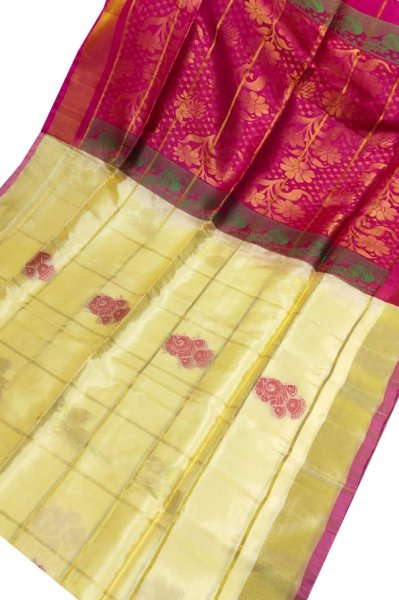 Cream and deep pink uppada all over checks, rich pallu saree