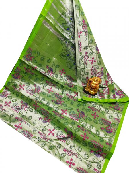 Green and Pink uppada tissue cotton print saree