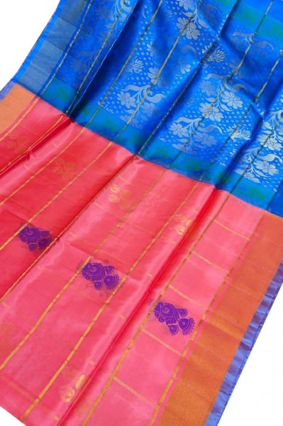 Carrot orange and blue uppada all over checks, rich pallu saree