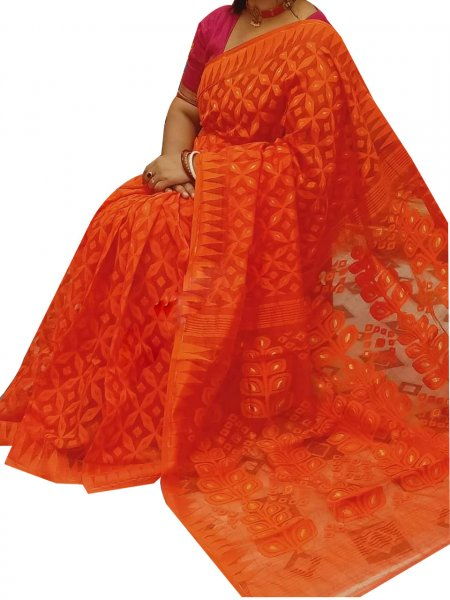 Orange dhakai jamdani high quality saree