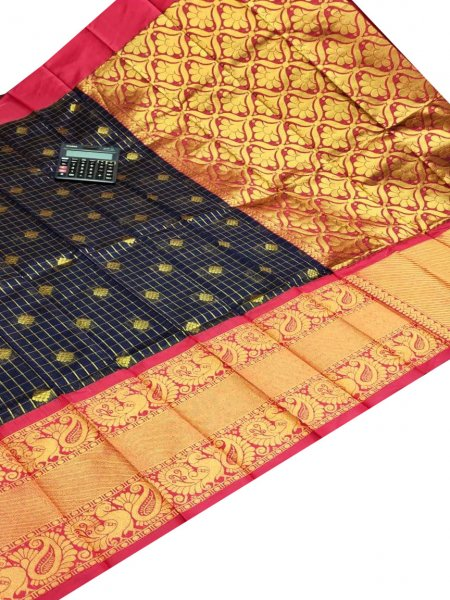 Black chanderi kanchi kuppadam all over butta saree