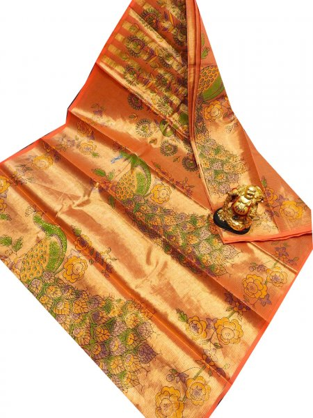 Orange and Green uppada tissue cotton print saree