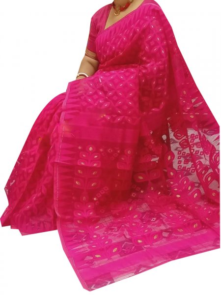 Deep pink dhakai jamdani high quality saree