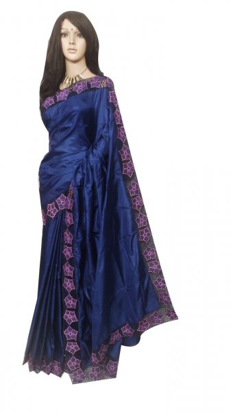 Deep blue pure silk cut work saree with blouse piece