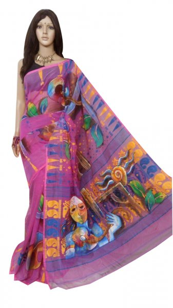 Pink , yellow and blue hand painted full body work jamdani silk saree