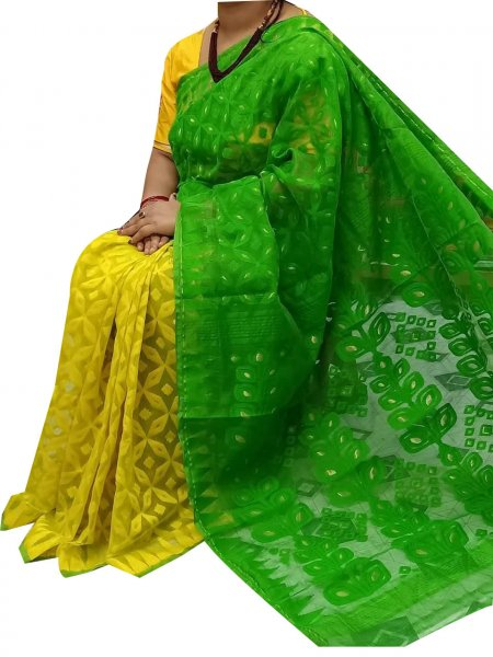 Yellow and green dhakai jamdani high quality saree